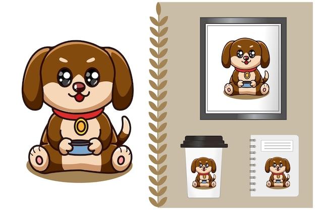 Schattige en gelukkige baby hond cartoon afbeelding