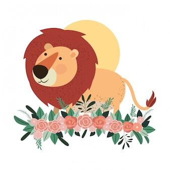 Schattige en schattige leeuw met florale decoratie