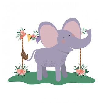 Schattige en schattige olifant met florale frame