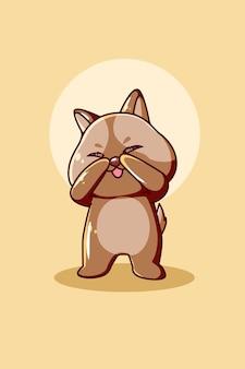 Schattige en verlegen baby hond dier cartoon illustratie