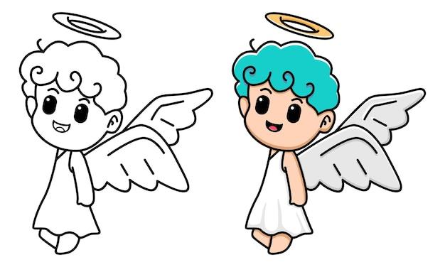 Schattige engel kleurplaat voor kinderen