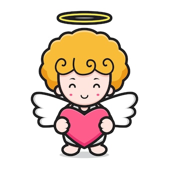 Schattige engel stripfiguur met goede pose
