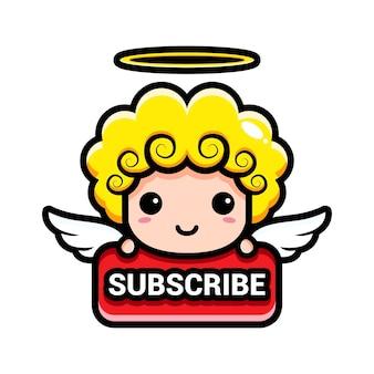 Schattige engelen met abonneerknop