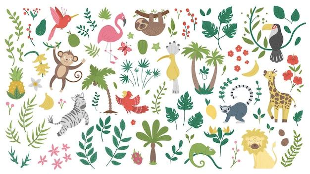 Schattige exotische dieren, bladeren, bloemen en fruit geïsoleerd