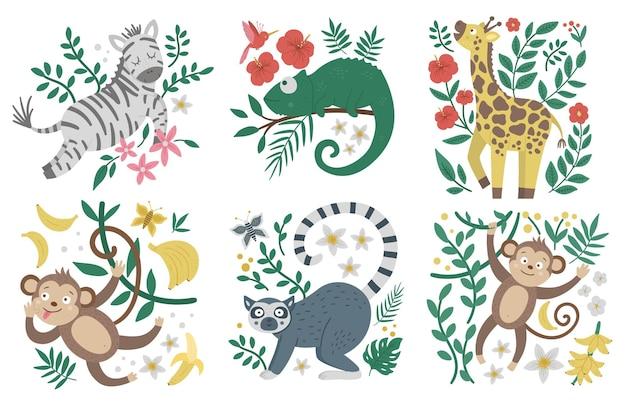 Schattige exotische dieren, bladeren, bloemen, fruit