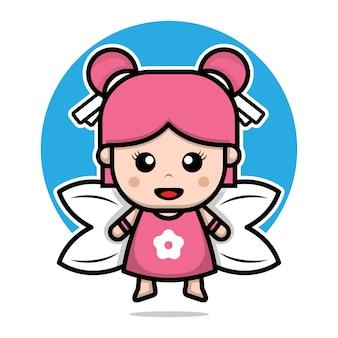 Schattige fee karakter ontwerp cartoon afbeelding
