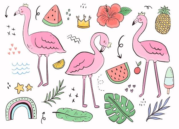Schattige flamingo doodle sticker overzicht.