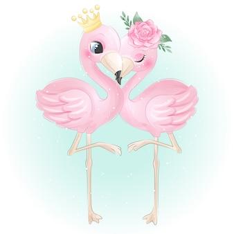 Schattige flamingo met aquarel roos Premium Vector