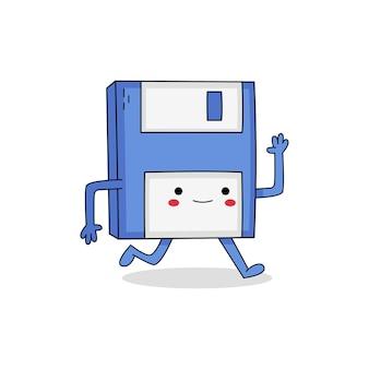 Schattige floppy disk stripfiguur weglopen
