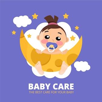 Schattige gedetailleerde baby logo sjabloon