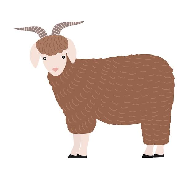 Schattige geit geïsoleerd op een witte achtergrond. leuk mooi cartoon binnenlands boerenerfdier met hoorns, vee van het landlandbouwbedrijf. gekleurde kinderachtig hand getrokken vectorillustratie in eenvoudige trendy stijl.