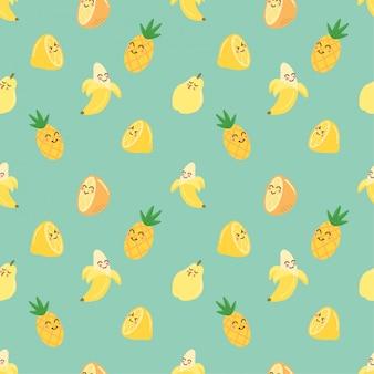 Schattige gele zomer fruit naadloze patronen achtergrond