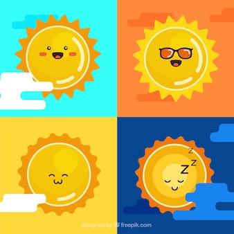 Schattige gele zonnen pak