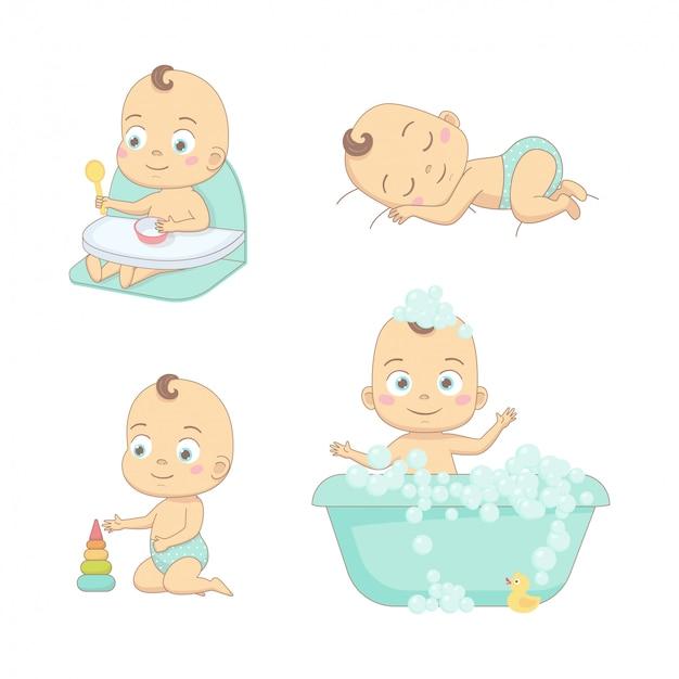 Schattige gelukkige baby en zijn dagelijkse routine.