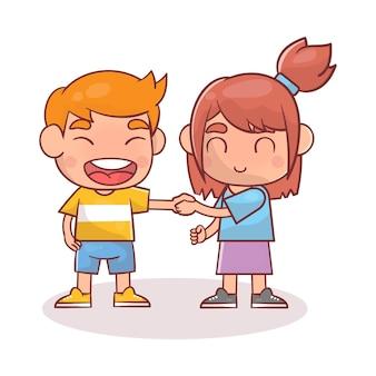 Schattige gelukkige jongen hand schudden met vriend doen