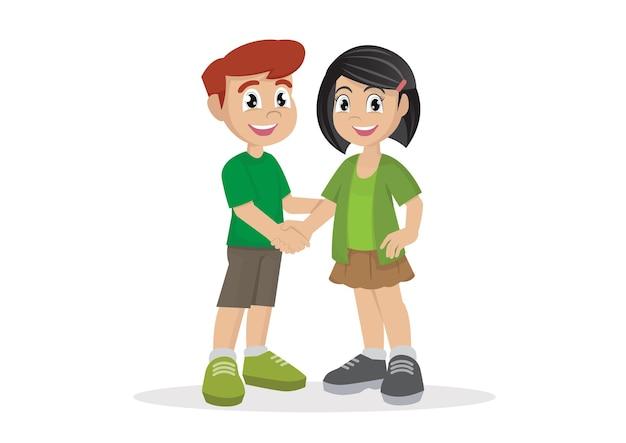 Schattige gelukkige jongen hand schudden met vriend