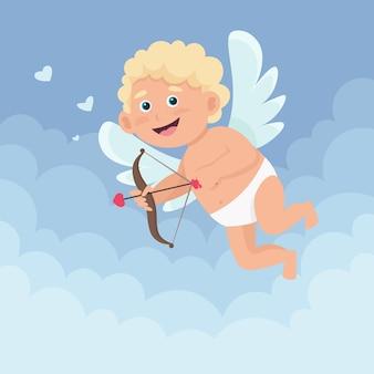 Schattige gelukkige kleine cupido met pijl en boog vliegt op de wolken. illustratie in cartoon vlakke stijl.