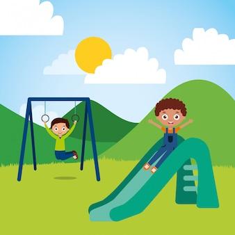 Schattige gelukkige kleine kinderen spelen dia springtouw speeltuin