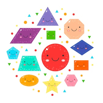 Schattige geometrische figuren voor kinderen instellen