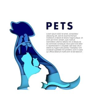 Schattige gezelschapsdieren silhouetten vector papier kunst illustratie hond kat konijn hamster papegaaien huisdieren poste...