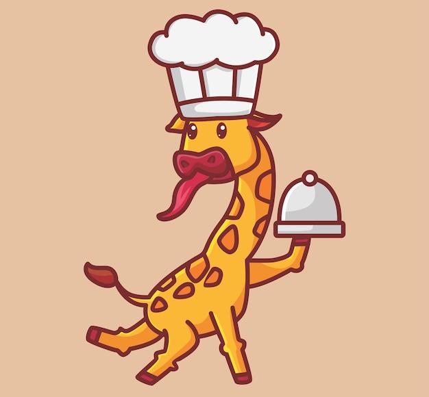 Schattige giraf brengt eten. cartoon dierlijke natuur concept geïsoleerde illustratie. vlakke stijl geschikt voor sticker icon design premium logo vector. mascotte karakter