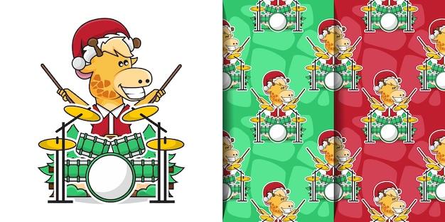 Schattige giraf draagt kerstman kostuum tijdens het spelen van de drums met decoratief naadloos patroon