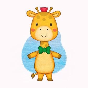 Schattige giraf. handgeschilderd in kleurpotloden.