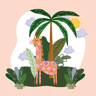Schattige giraf in de jungle