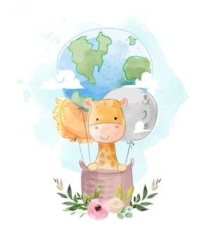 Schattige giraf op wereldbol en ster hete luchtballon