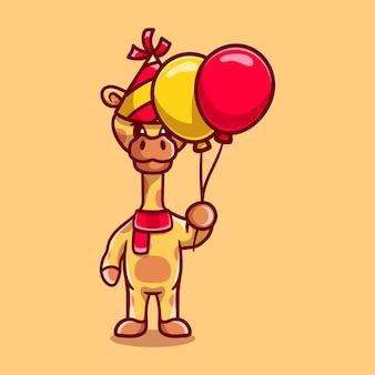 Schattige giraf viert gelukkig nieuwjaar of verjaardag met ballonnen