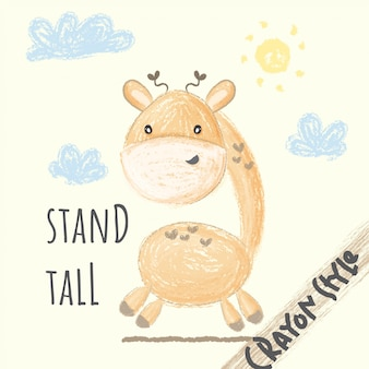 Schattige giraffe krijt stijl illustratie voor kinderen