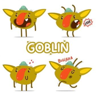 Schattige goblins stripfiguren set geïsoleerd op een witte achtergrond.