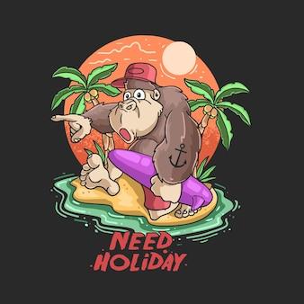 Schattige gorilla gelukkige zomer illustratie