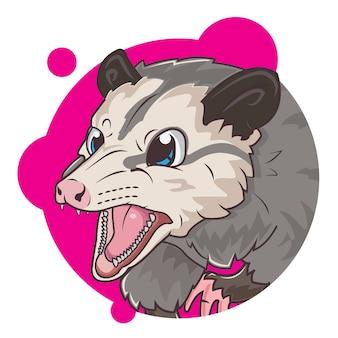 Schattige grijze opossum avatar