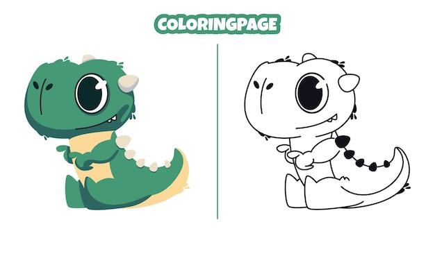 Schattige groene dinosaurus met kleurplaten