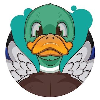 Schattige groene eend avatar