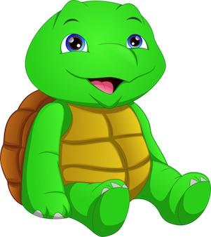 Schattige groene schildpad cartoon