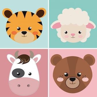 Schattige groep hoofd dieren karakters