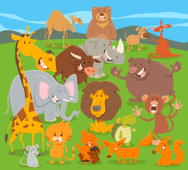 Schattige groep met dierenfiguren