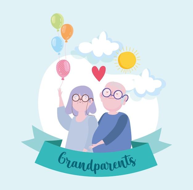Schattige grootouders met ballonnen