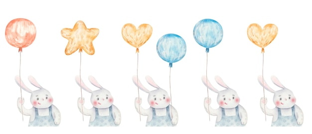 Schattige haas met ballonnen, schattige kinderachtige aquarelillustratie