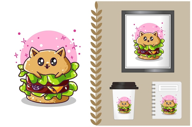 Schattige hamburger cartoon afbeelding Premium Vector