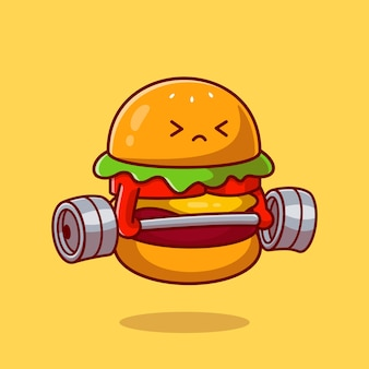 Schattige hamburger hijs barbell cartoon vectorillustratie pictogram. voedsel gezond pictogram concept. platte cartoon stijl