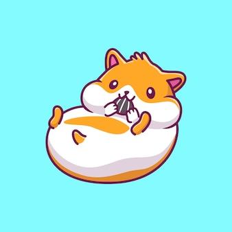 Schattige hamster eten pictogram illustratie. hamster mascotte stripfiguur. dierlijke pictogram concept geïsoleerd