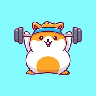 Schattige hamster gym fitness pictogram illustratie. hamster mascotte stripfiguur. dierlijke pictogram concept geïsoleerd