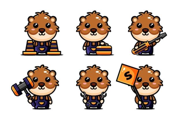 Schattige hamster karakter ontwerpset thema constructie