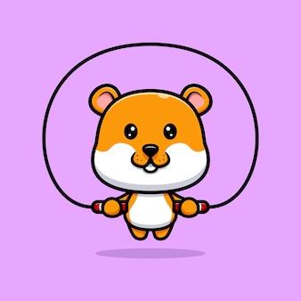 Schattige hamster training cartoon afbeelding