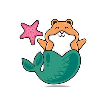 Schattige hamster zeemeermin
