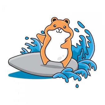 Schattige hamsters surfen