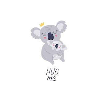 Schattige hand getekende koala moeder en baby cartoon vectorillustratie om af te drukken